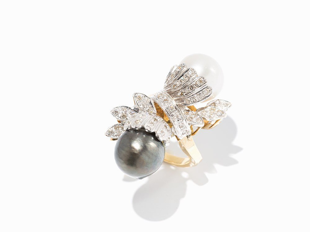 Statement Ring with 2 Australian Pearls and Diamonds,