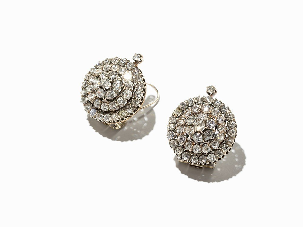 Pair of Ear Clips with 88 Old Cut Diamonds of c. 12