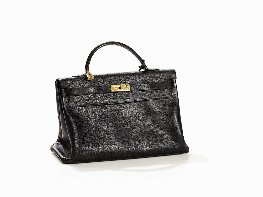 Hermès Kelly Bag in Black, Togo Leather, circa 2000