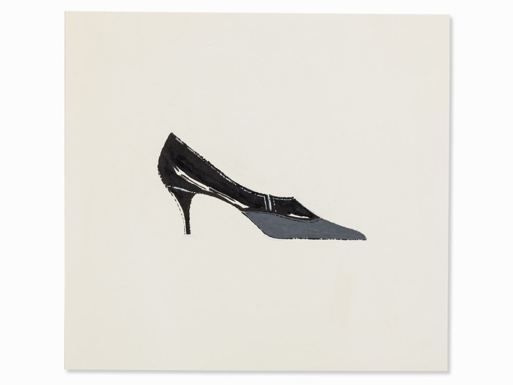 Andy Warhol, Black-Grey Shoe, India Ink and Gouache, c.