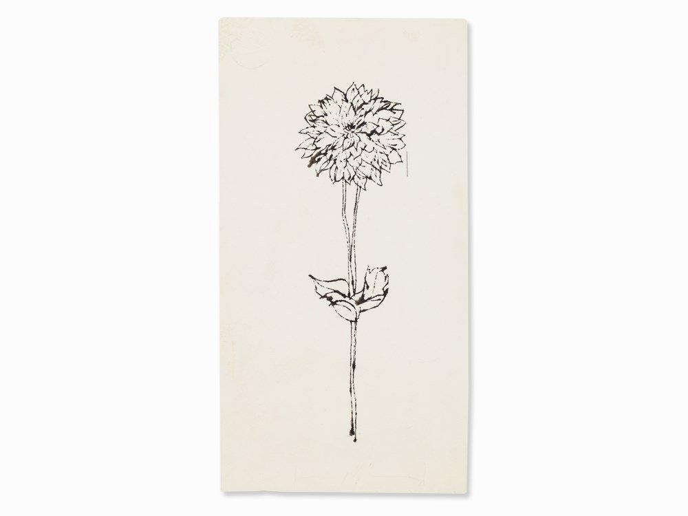 Andy Warhol, Dahlia, Indian Ink Drawing, presumably