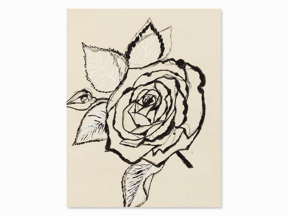 Andy Warhol, Rose, India Ink Drawing, c. 1955