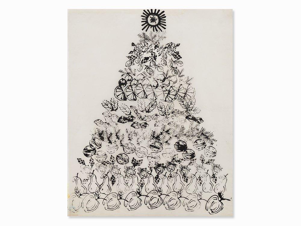 Andy Warhol, Fruit Tree, Ink Drawing, ca. 1958
