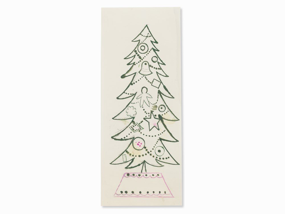 Andy Warhol, Christmas Tree Small, Gouache, 1950s