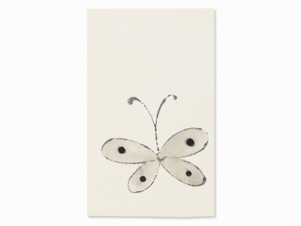 Warhol, Small Butterfly with Dots, Watercolor, c. 1957