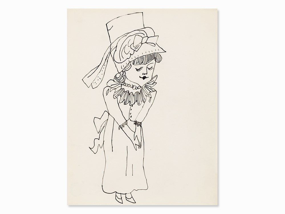 Andy Warhol, Young Lady, India Ink Drawing, c. 1954