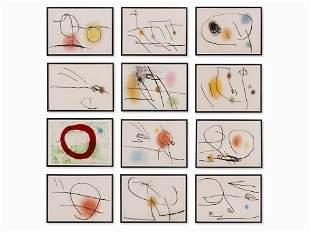 Joan Miró, For: Lapidari, 12 Sheets Pastel over