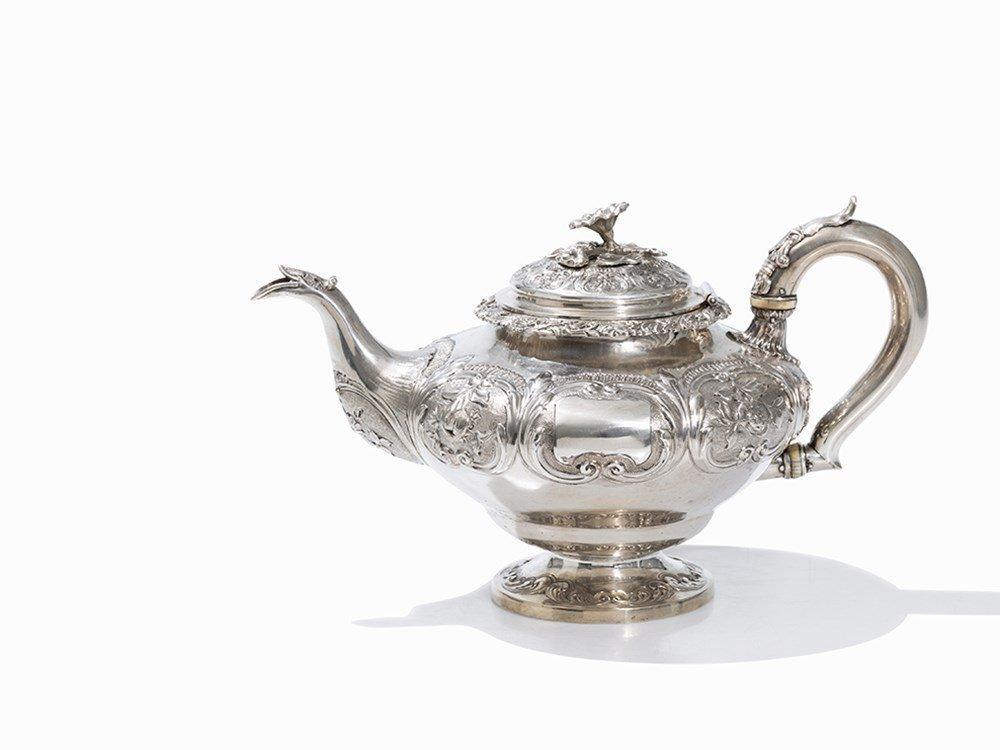 A Victorian Silver Teapot by John Evans II, London,