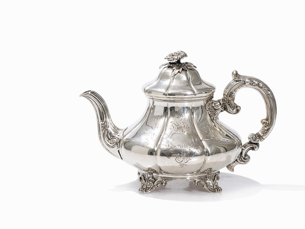 A Victorian Silver Teapot by William Hunter, London,