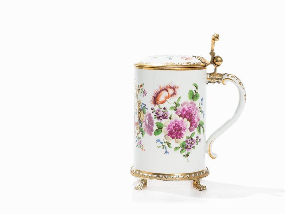 A Porcelain Tankard, Silver–Gilt Mount, Seitz, Konstanz