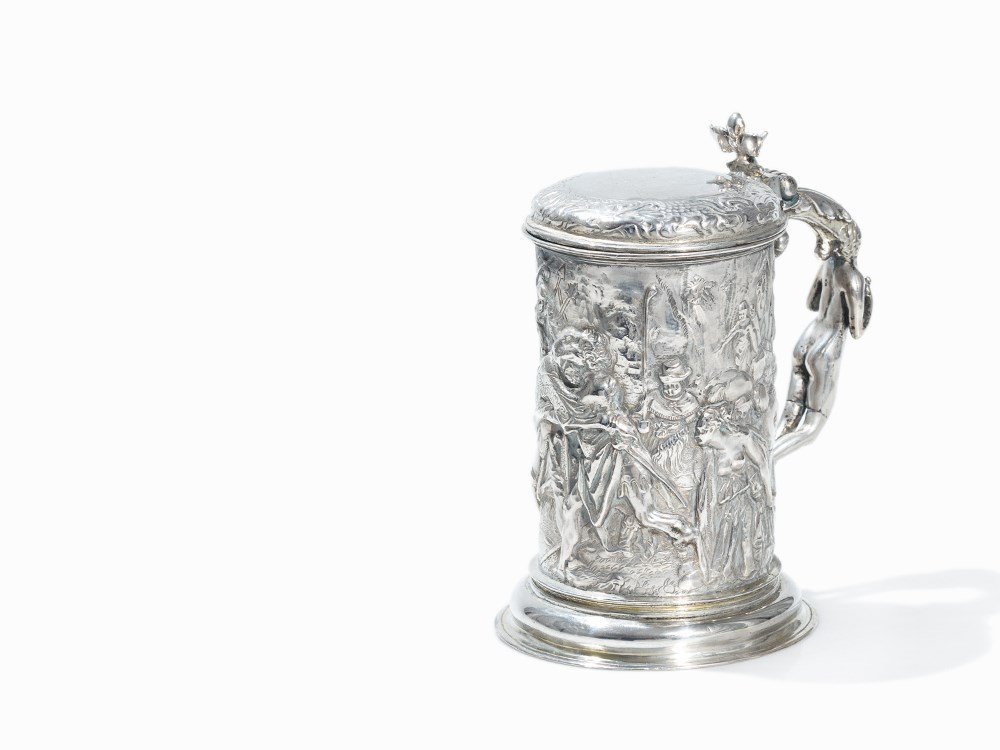 A Lidded Silver-Tankard with Relief Décor, Europe