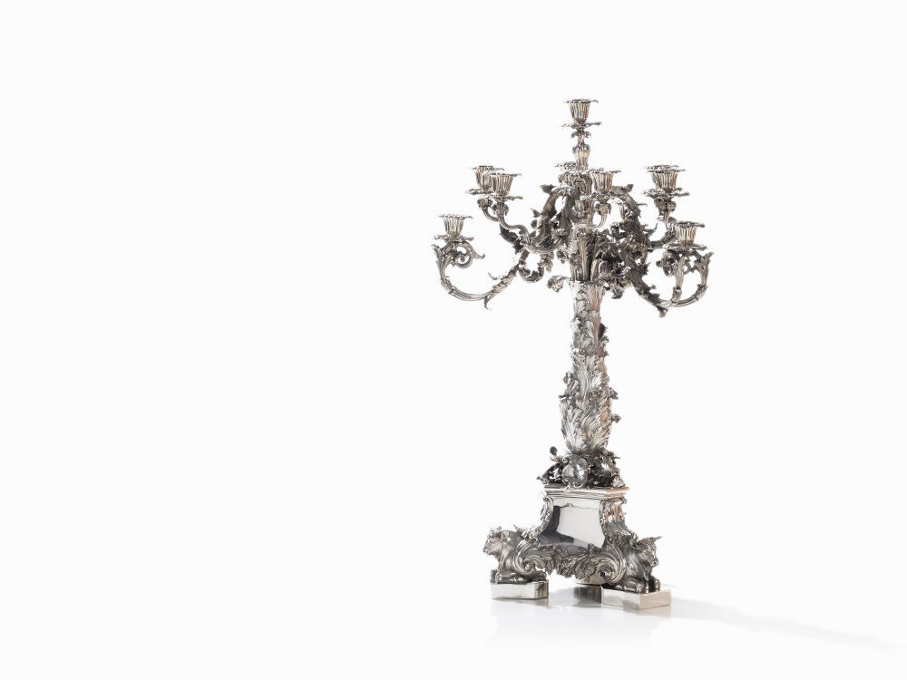 P. Storr/Hunt & Roskell, Silver Splendor Candelabra,