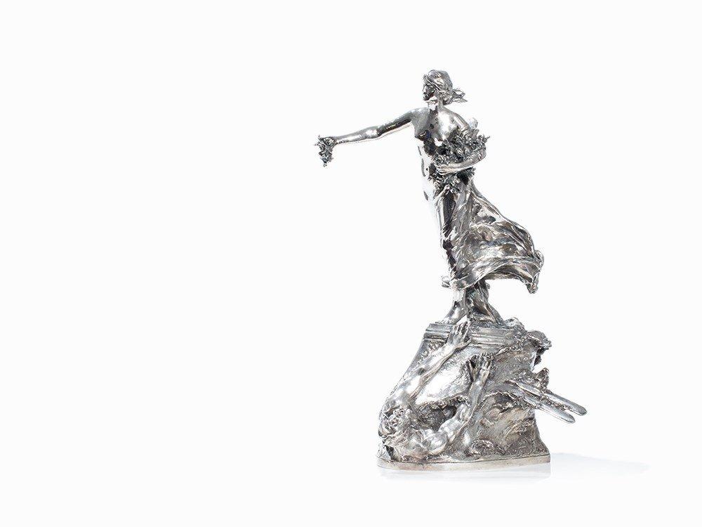 Paul Gasq, Large Maritime Victory Sculpture, Silver,
