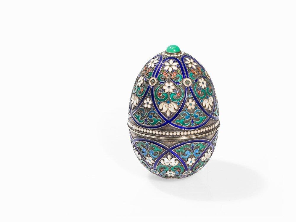 Grigory Sbitnev, Enamel Cloisonné Egg, Moscow,