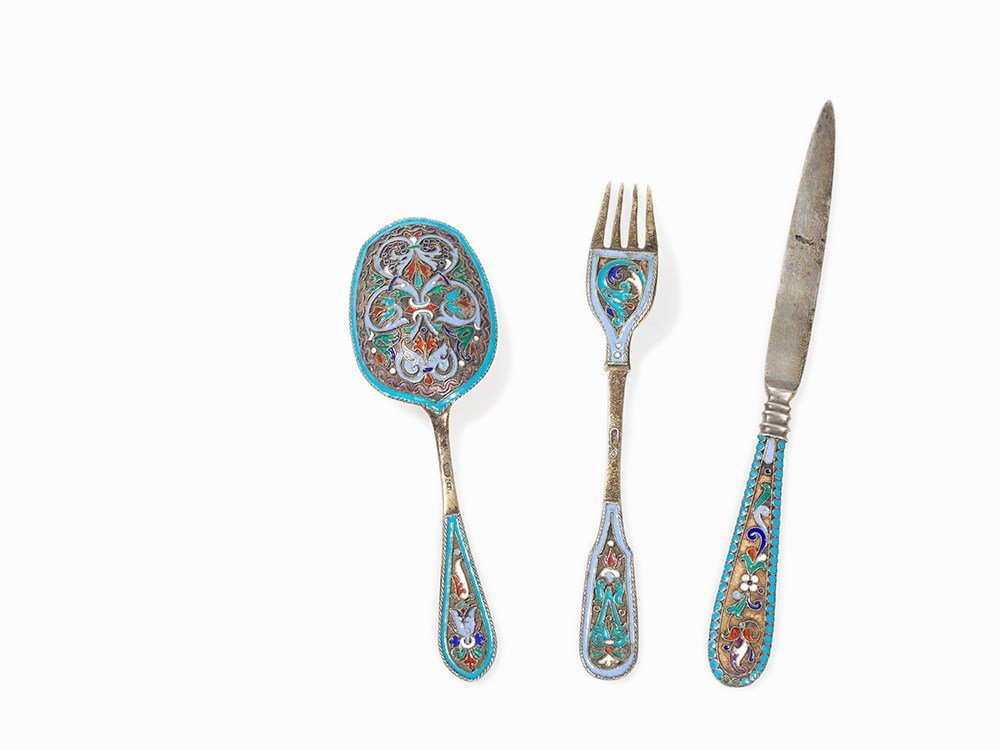 Cutlery Set, 3-Piece with Enamel Design, Russia, around