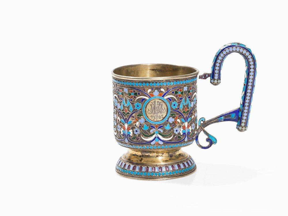 Gilt Silver Cup with Cloisonné Design, Russia, 1902