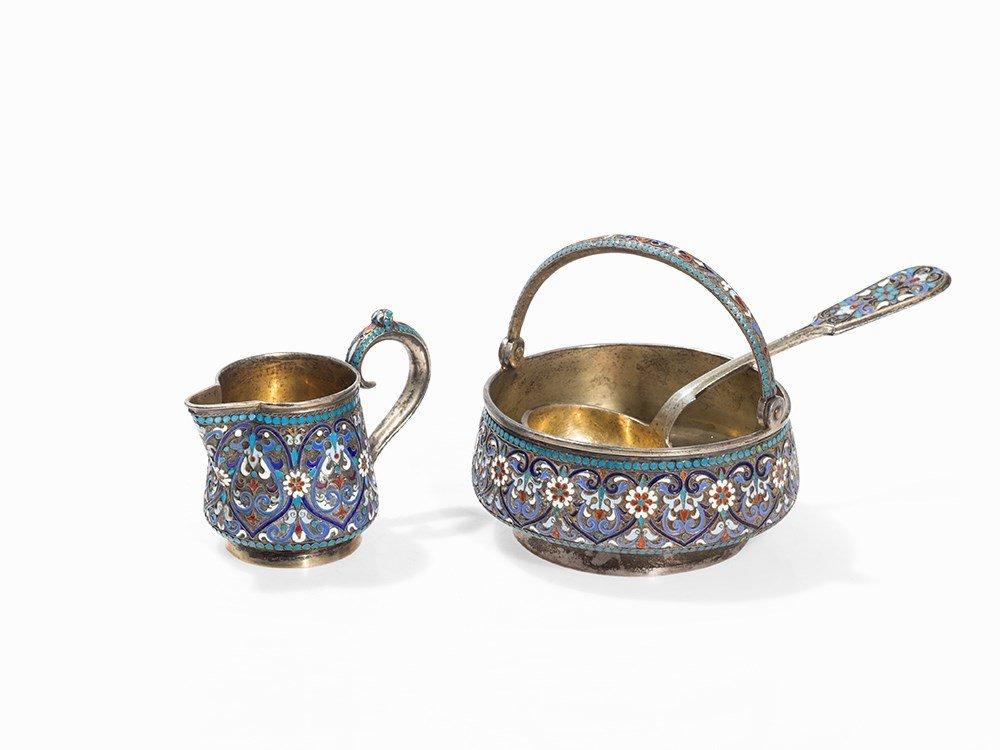 Gilt Silver Set with Enamel Design, 3-pcs., Moscow,
