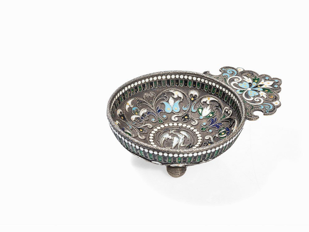 Silver Charka with Floral Cloisonné Enamel, Russia,