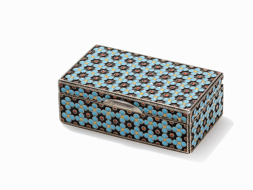 A Silver Snuff Box with Cloisonné Decoration, Russia,