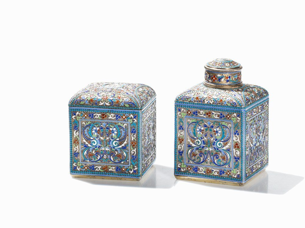 Ivan Saltykov, Tea Caddy and Sugar Box, Silver &