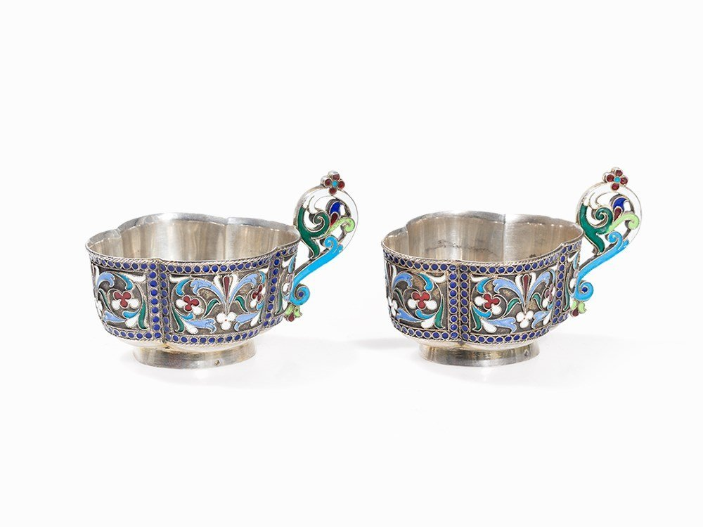 Pair of Silver Kovshs with Cloisonné Enamel, Russia,