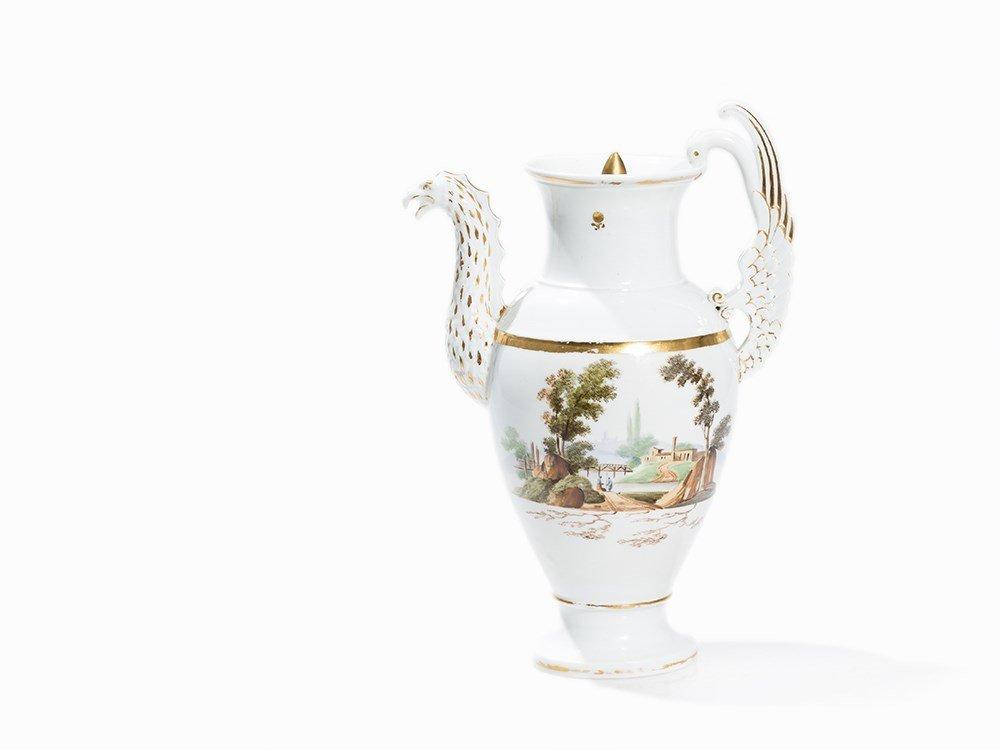 Popow, Porcelain Jug with Dragon Neck Spout, c. 1825