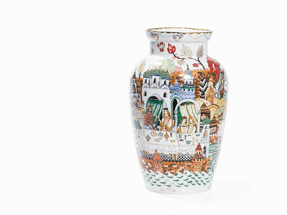 Baluster Vase with Depictions of Russian Folktales,