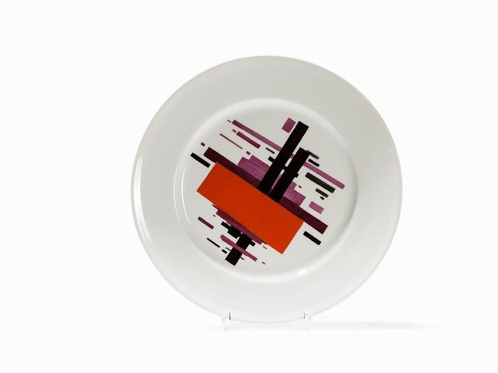 Soviet Suprematist Porcelain Plate, St. Petersburg,