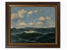 Max Jensen (1860-c. 1908), Restless Sea, Oil, Late 19th
