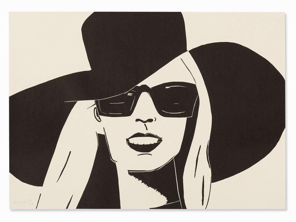 Alex Katz, Black Hat (Nicole), Woodcut, 2010