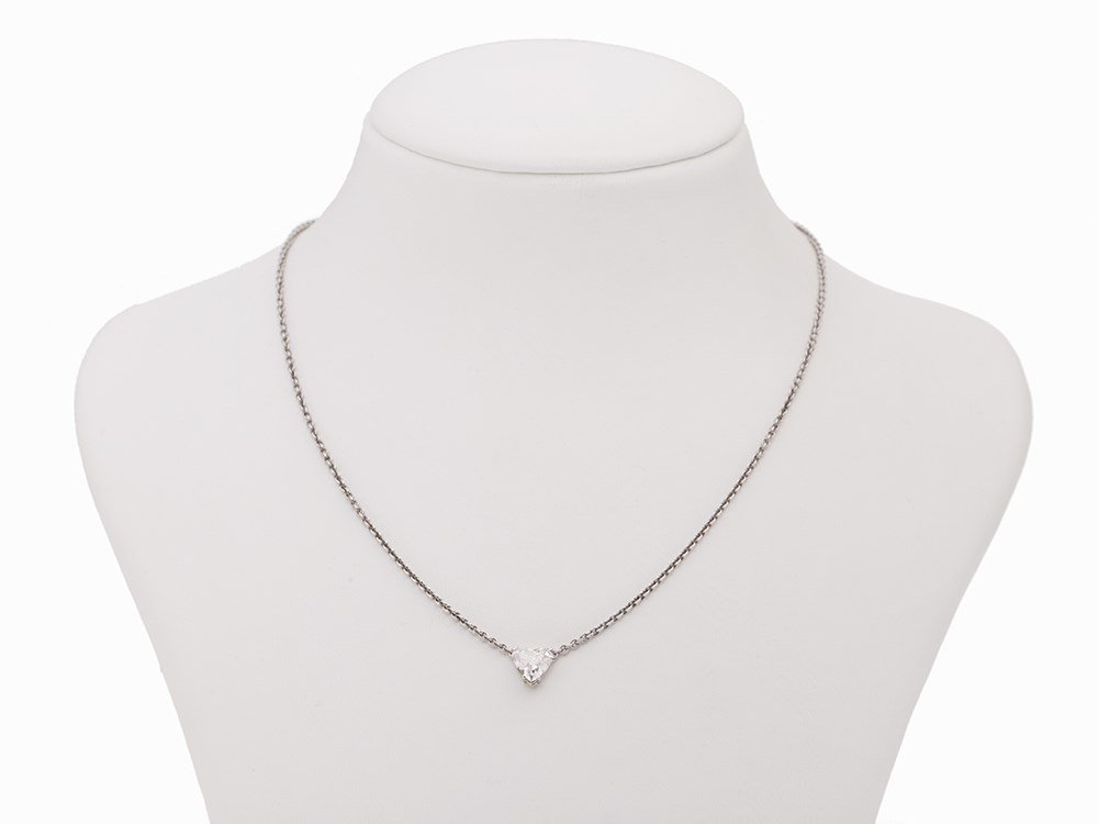 Platinum Collier with a Heart-Shaped Diamond Pendant,