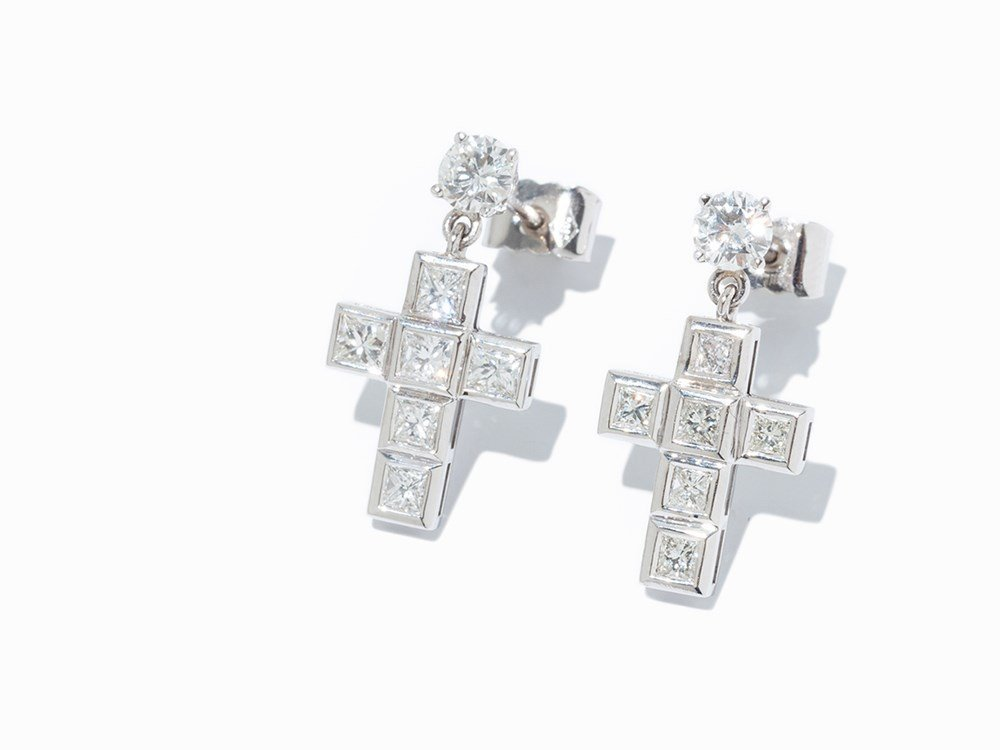 Cross Ear Hangers with Diamonds, 14K White Gold, c. 1.6