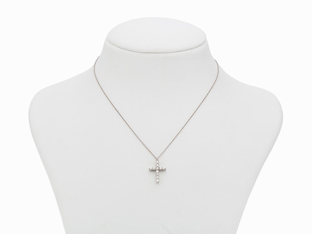 Tiffany Diamond Cross Pendant with Chain, Platinum, c.