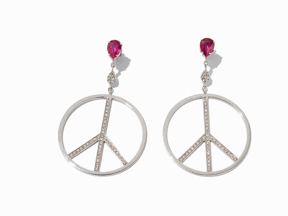 Pair of Peace Earrings with Rubies, 18 k White Gold,