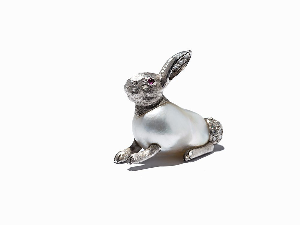 Rabbit Brooch with Baroque Pearl & Gems, E. Wolfe &