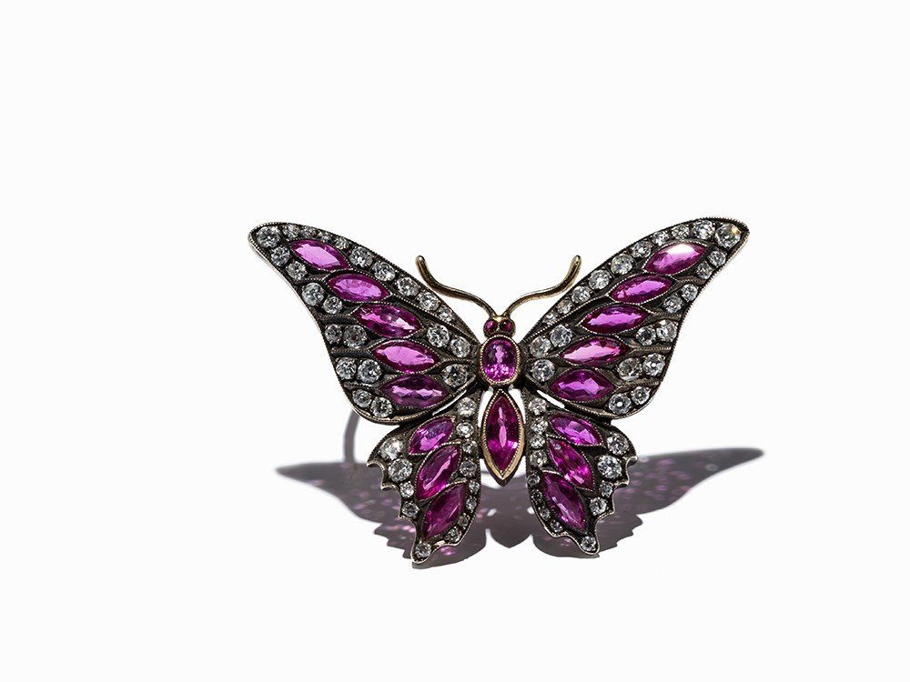 A Butterfly Brooch with 20 Rubies and 71 Diamonds, 14K