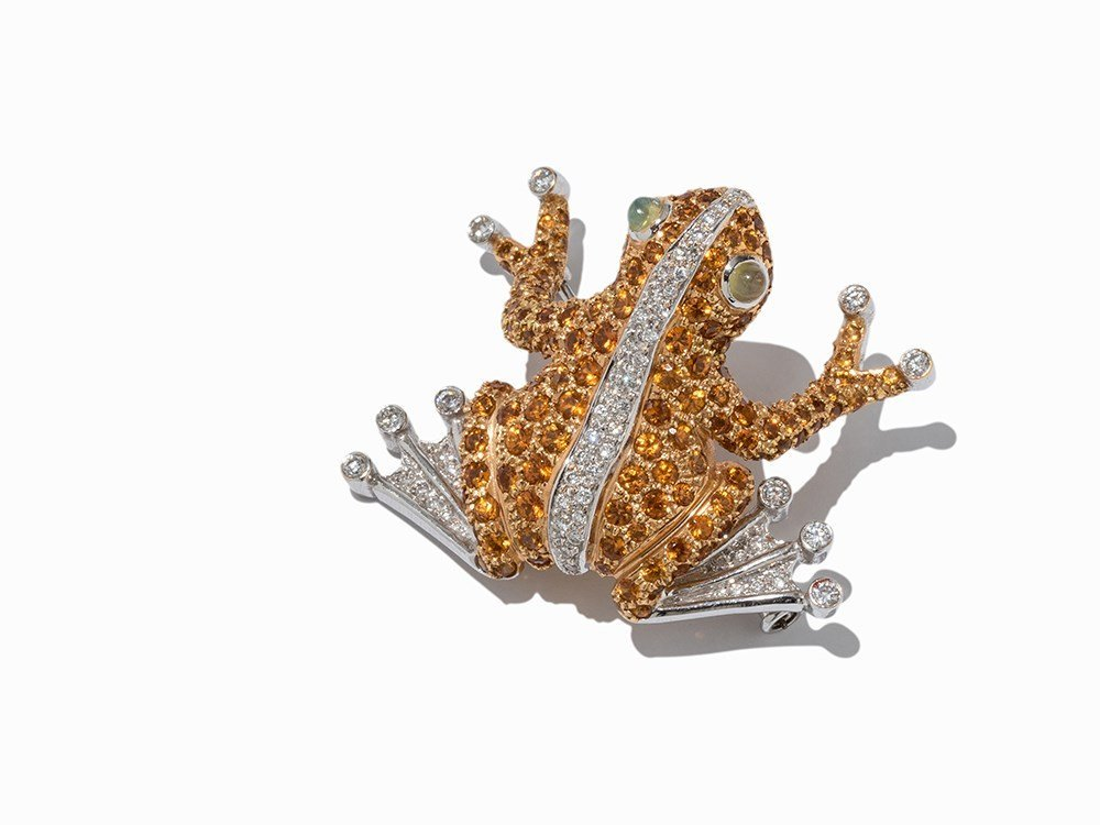 Frog Brooch with Diamonds, Citrines and Moonstone