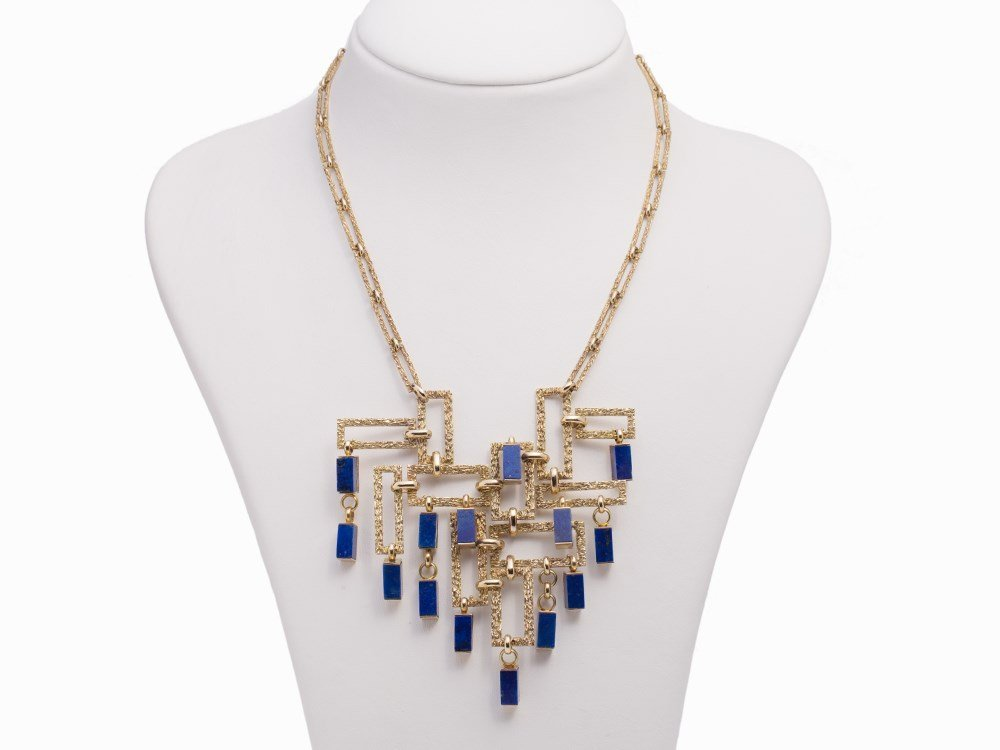 Lapis Lazuli Necklace, 14K Gold, Germany, circa 1970