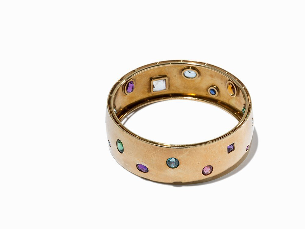 A Gold Bangle with Multi-Colored Diamonds, Germany, c.