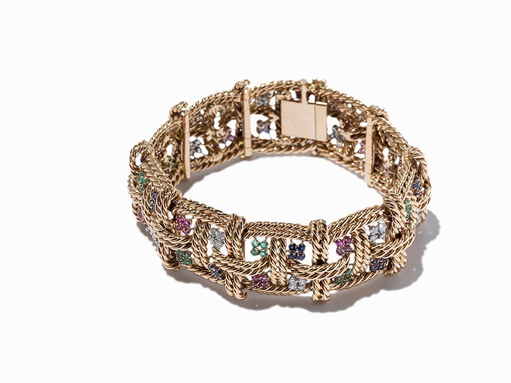 Broad Braclet with Diamonds and Gemstones, 18 K Red