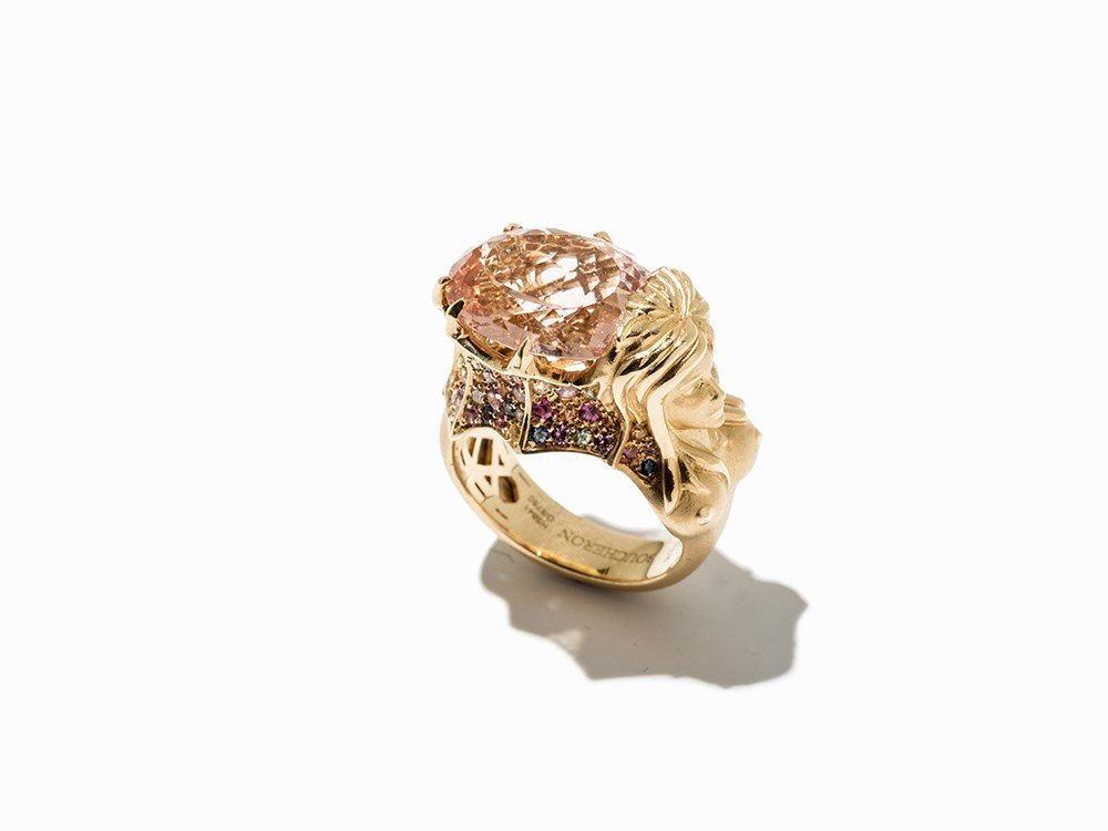 Boucheron, Cocktail Ring with Morganite, 18K Gold, c.