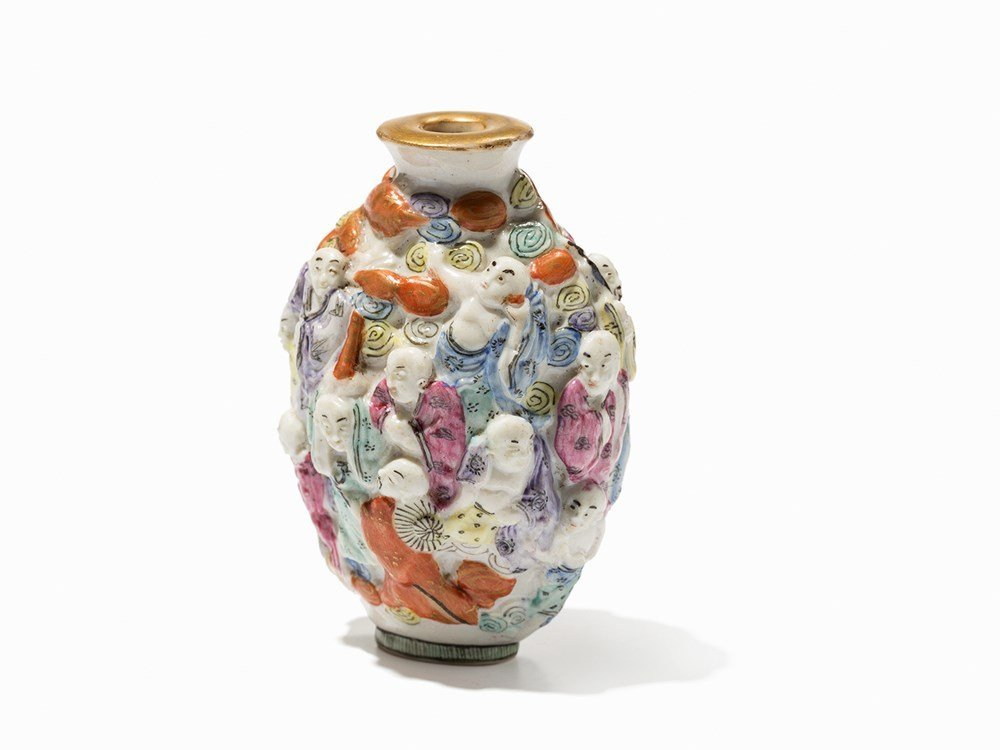 Molded Porcelain Snuff Bottle with 18 Luohans, 19th C.
