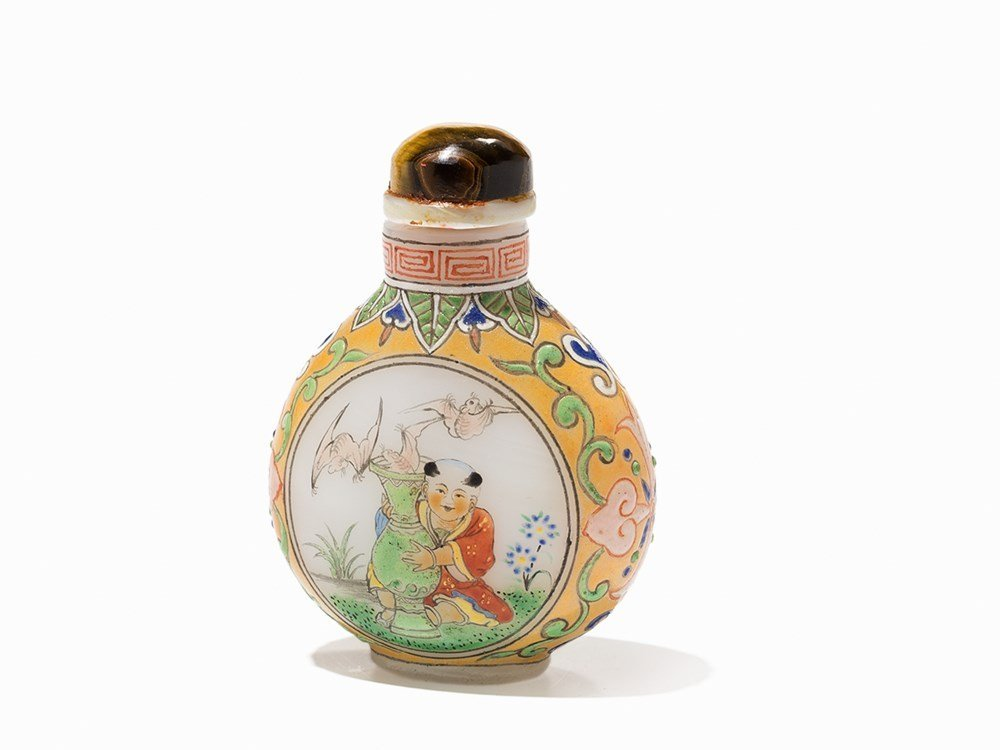 Glass Snuff Bottle with Children, 20th C.