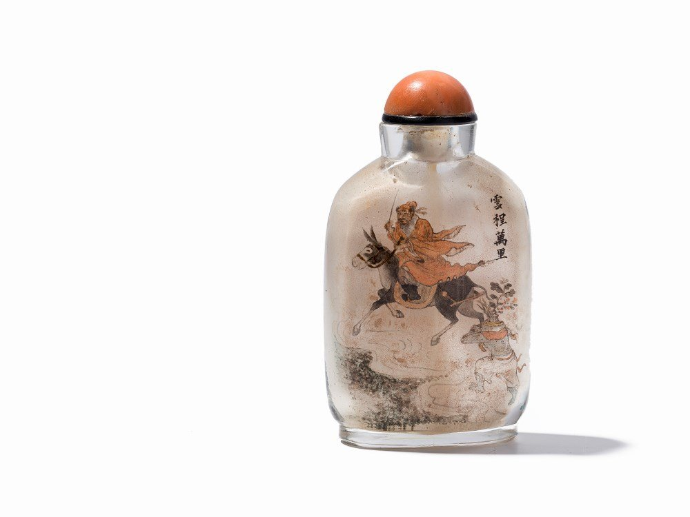Inside-Painted Glass Snuff Bottle with Scholar, 20th C.