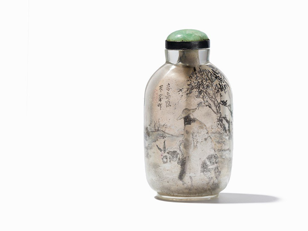 Inside-Painted Glass Snuff Bottle with Equestrians,