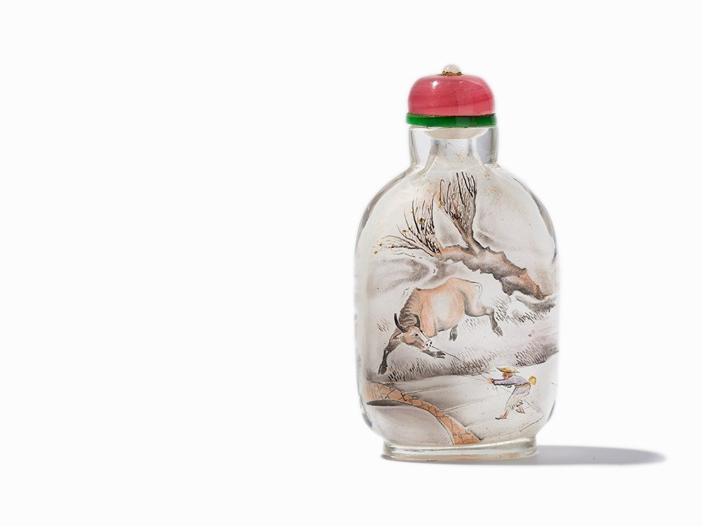 Inside-Painted Glass Snuff Bottle with Ox & Peasant,