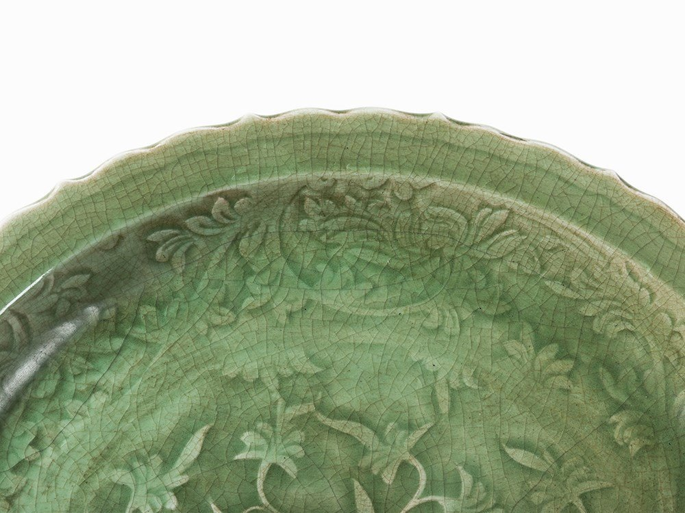 Rare Large Celadon Barbed-Rim Charger, Ming