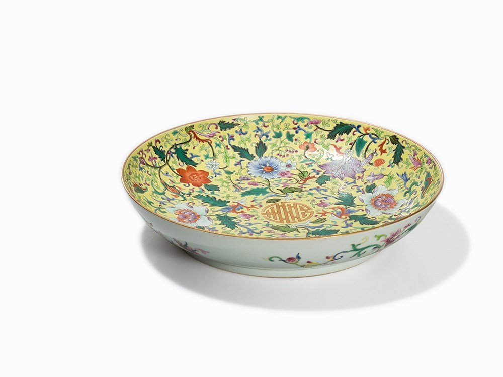 Yellow Ground Floral Dish with Shou Character, Qianlong