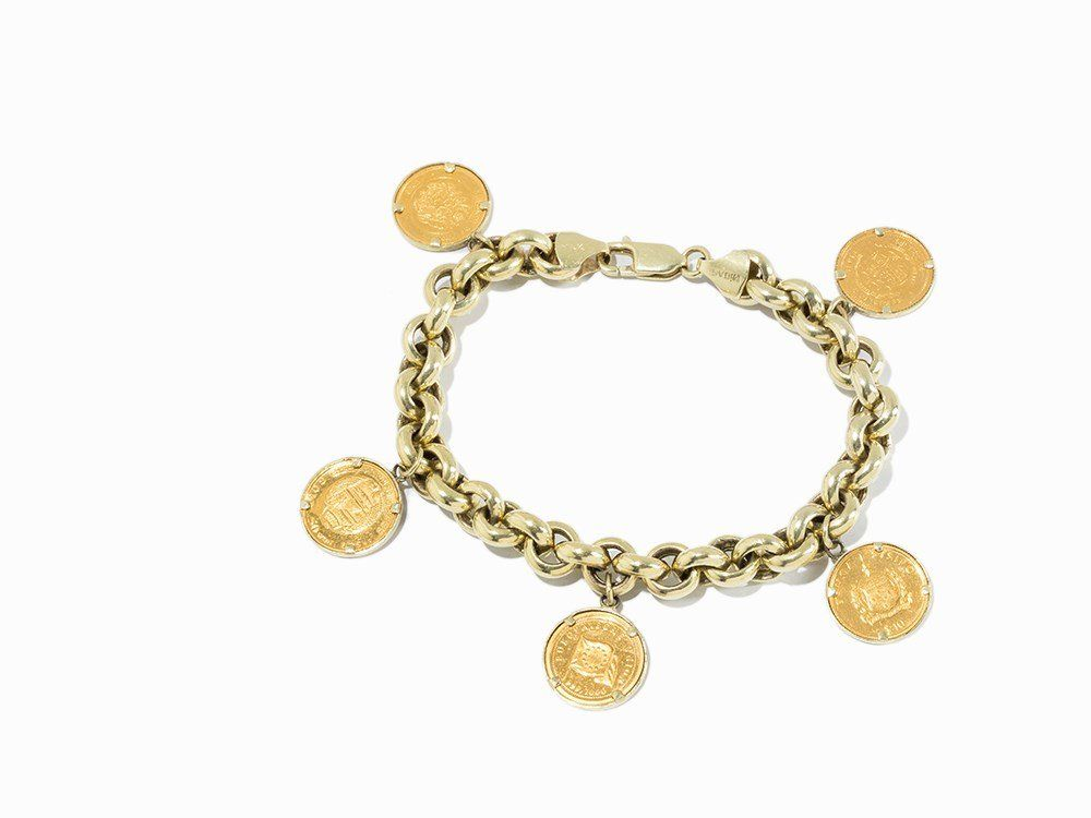 Charm Bracelet with Coins and a Medal, 14K Yellow Gold