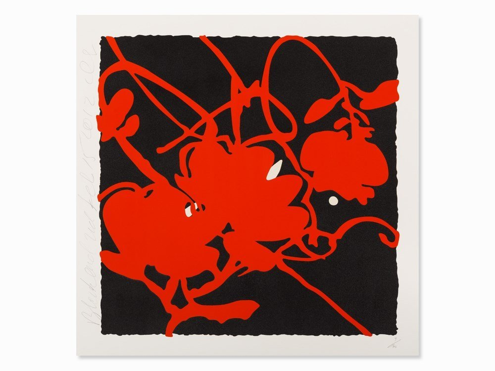 Donald Sultan, Black and Red, Serigraph With Flocking,